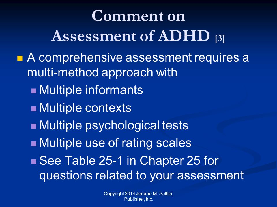 Comment on Assessment of ADHD [3]
